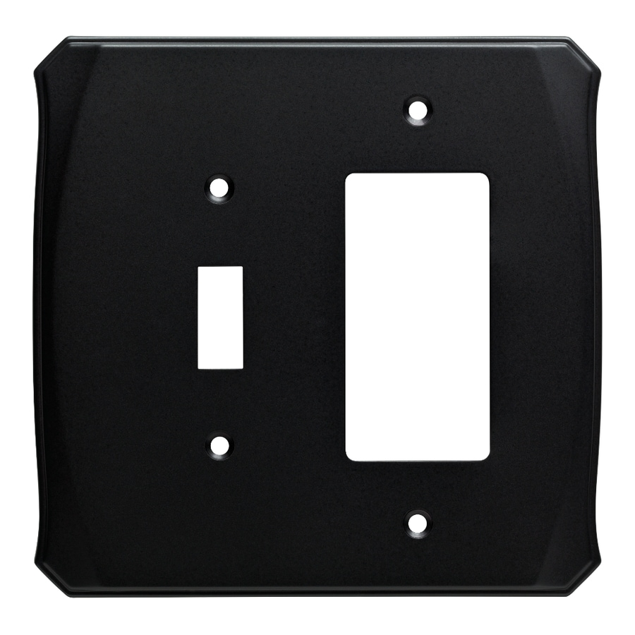 Brainerd Serene 2-Gang Flat Black Single Toggle/Decorator Wall Plate