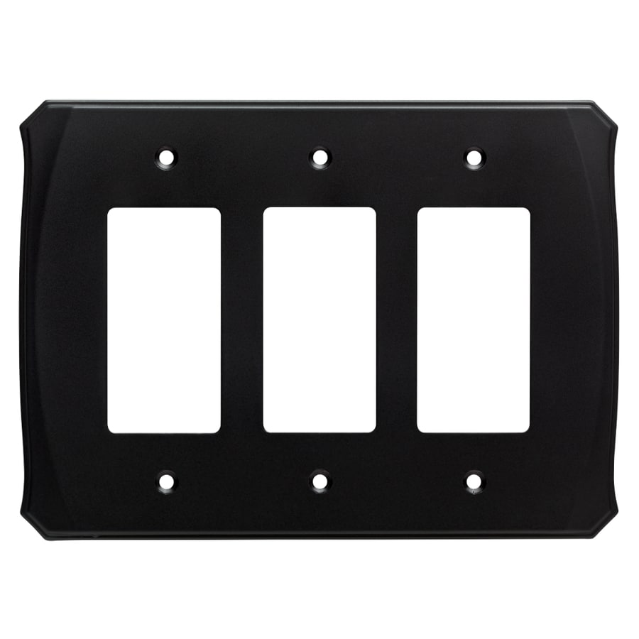 Brainerd Serene 3-Gang Flat Black Triple Decorator Wall Plate
