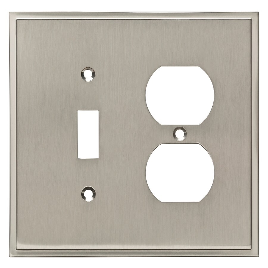 Brainerd Simple Steps 2-Gang Satin Nickel Single Toggle/Duplex Wall Plate