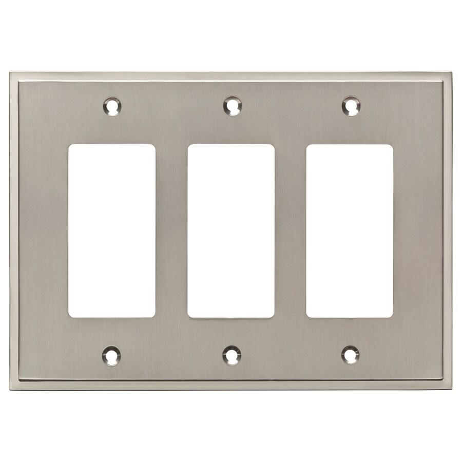 Brainerd Simple Steps 3-Gang Satin Nickel Triple Decorator Wall Plate