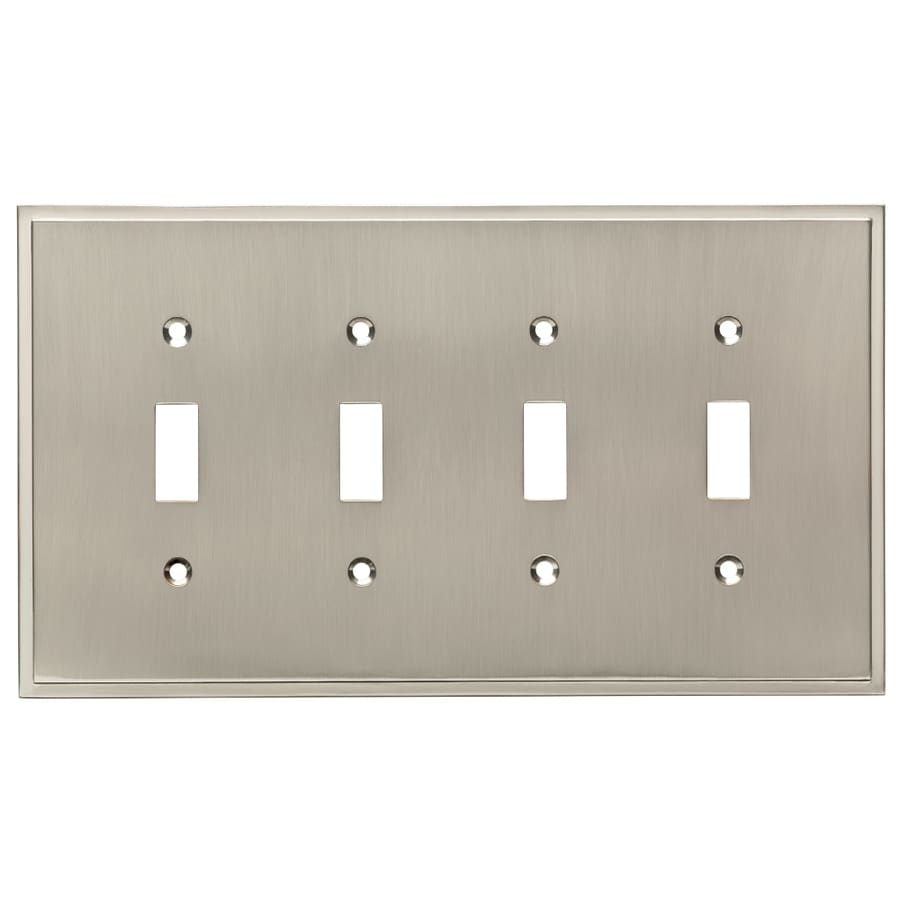 Brainerd Simple Steps 4-Gang Satin Nickel Quad Toggle Wall Plate