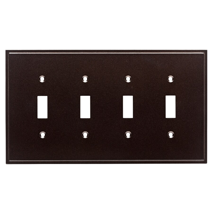 Brainerd Simple Steps 4-Gang Cocoa Bronze Quad Toggle Wall Plate