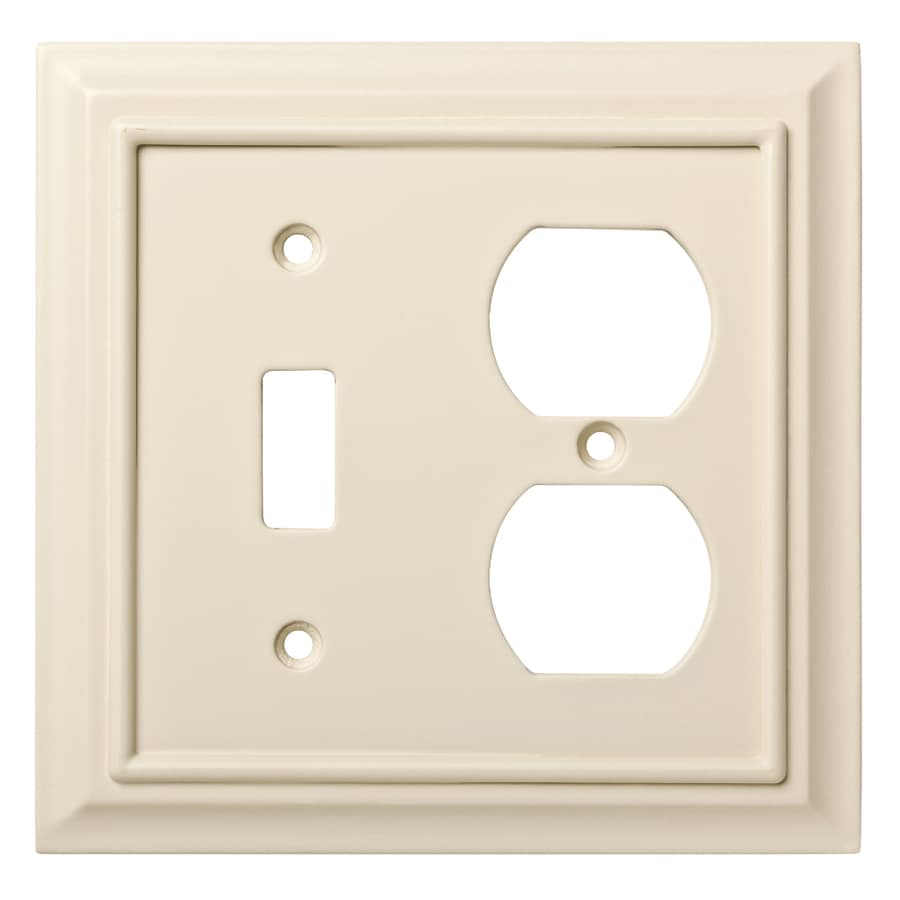 Brainerd Wood Architectural 2-Gang Light Almond Single Toggle/Duplex Wall Plate