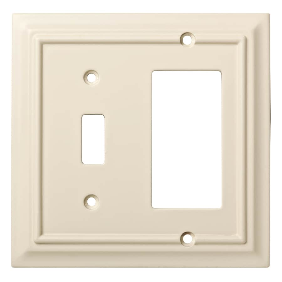 Brainerd Wood Architectural 2-Gang Light Almond Single Toggle/Decorator Wall Plate