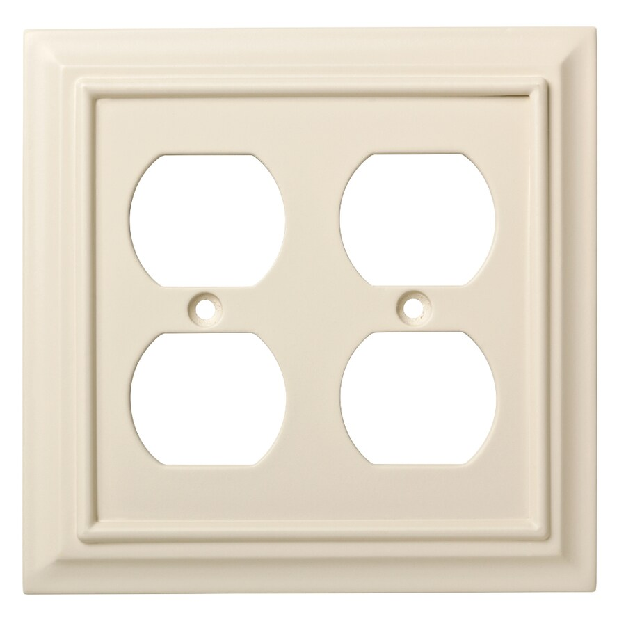 Brainerd Wood Architectural 2-Gang Light Almond Double Duplex Wall Plate