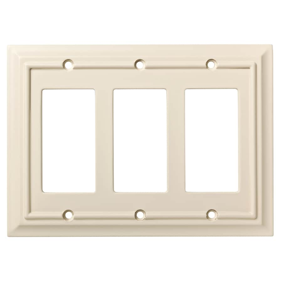 Brainerd Wood Architectural 3-Gang Light Almond Triple Decorator Wall Plate
