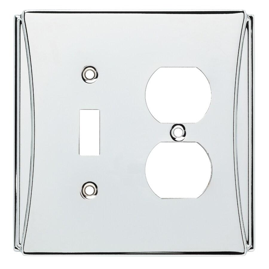 Brainerd Upton 2-Gang Polished Chrome Single Toggle/Duplex Wall Plate