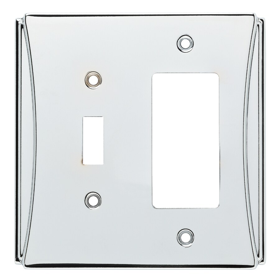 Brainerd Upton 2-Gang Polished Chrome Single Toggle/Decorator Wall Plate