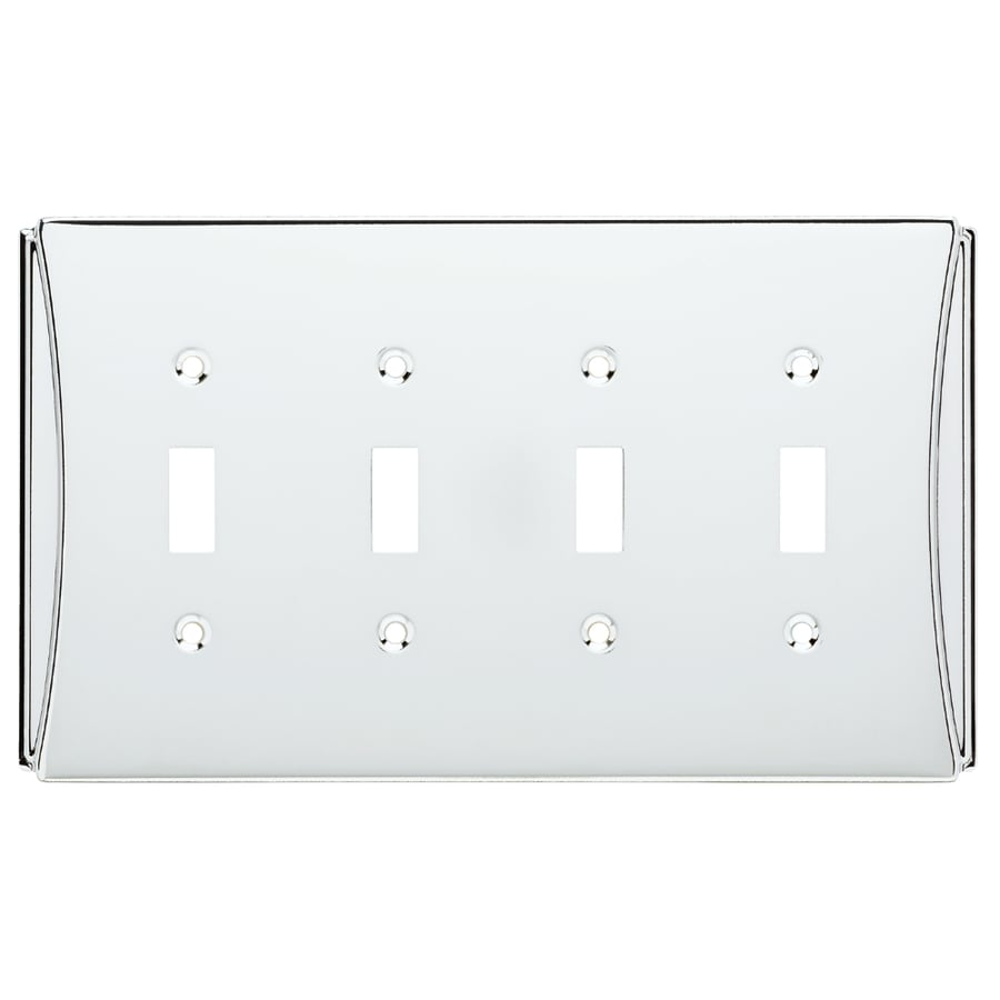Brainerd Upton 4-Gang Polished Chrome Quad Toggle Wall Plate