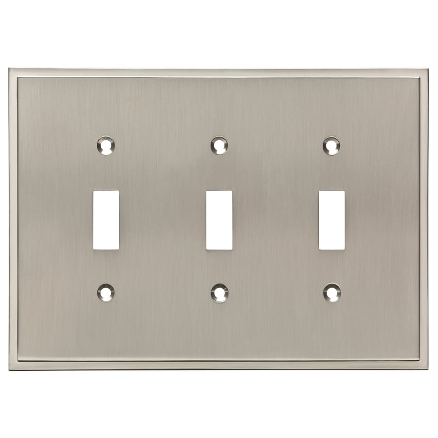 Brainerd Simple Steps 3-Gang Satin Nickel Triple Toggle Wall Plate