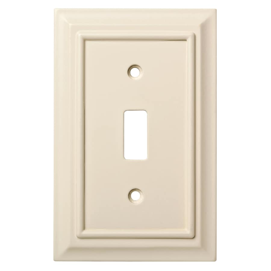Brainerd Wood Architectural 1-Gang Light Almond Single Toggle Wall Plate
