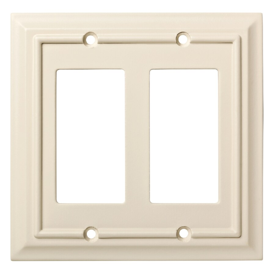 Brainerd Wood Architectural 2-Gang Light Almond Double Decorator Wall Plate