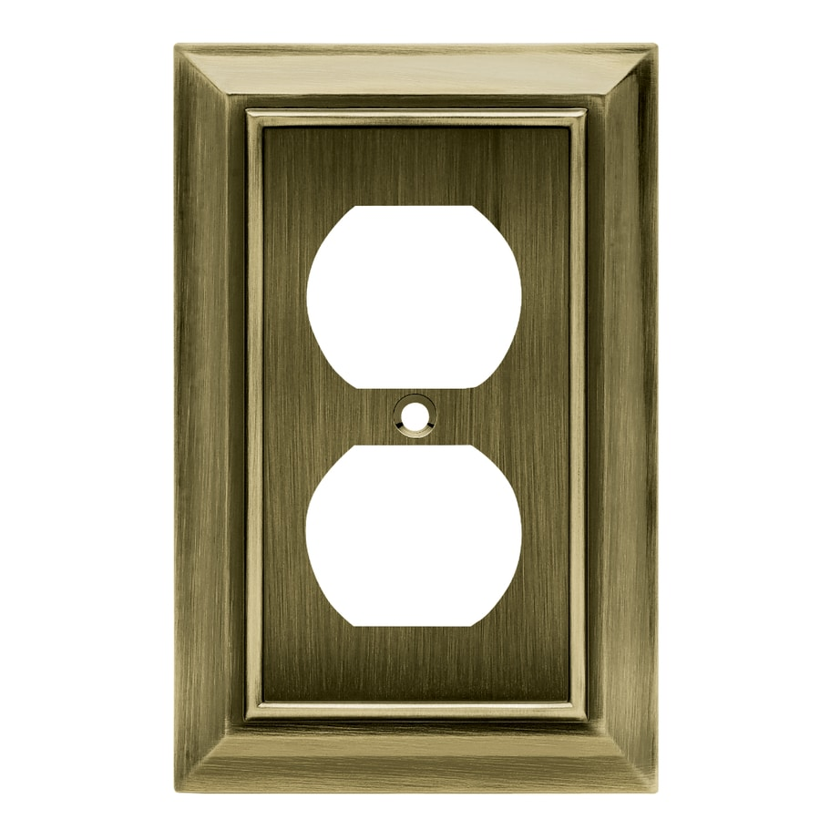 Brainerd Architectural 1-Gang Antique Brass Single Duplex Wall Plate