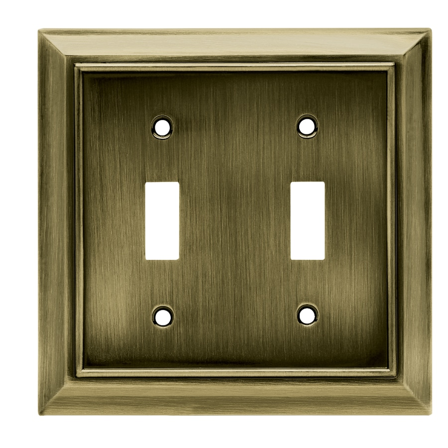Brainerd Architectural 2-Gang Antique Brass Double Toggle Wall Plate