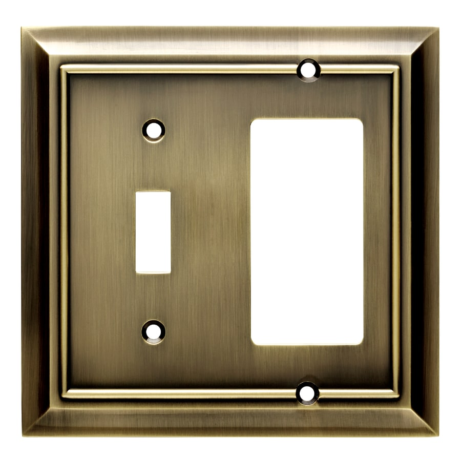 Brainerd Architectural 2-Gang Antique Brass Double Toggle/Decorator Wall Plate