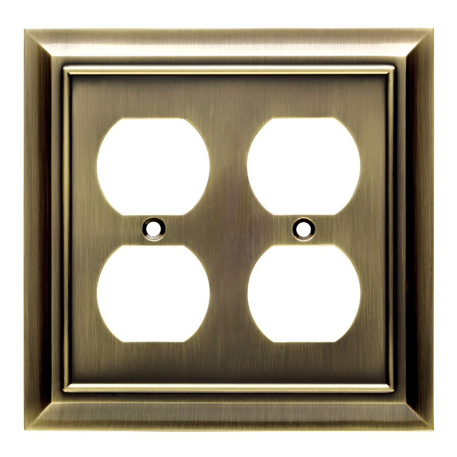 Brainerd Architectural 2-Gang Antique Brass Double Duplex Wall Plate