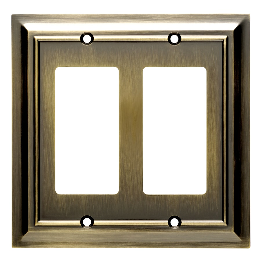 Brainerd Architectural 2-Gang Antique Brass Double Decorator Wall Plate
