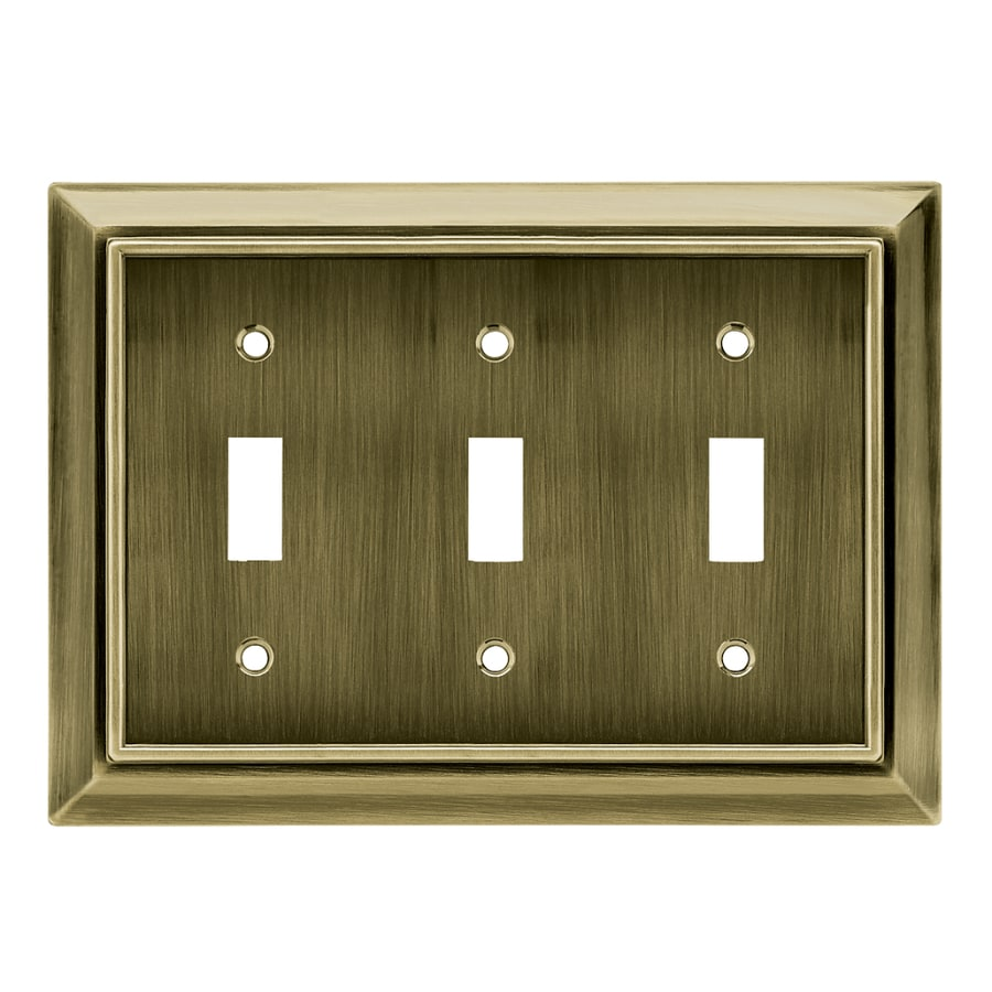 Brainerd Architectural 3-Gang Antique Brass Triple Toggle Wall Plate