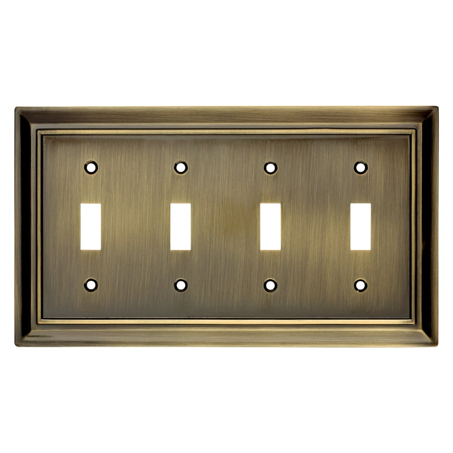 Brainerd Architectural 4-Gang Antique Brass Quad Toggle Wall Plate