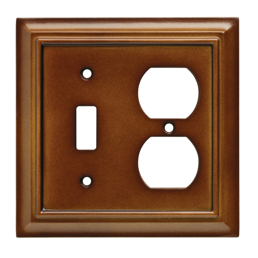 Brainerd Wood Architectural 2-Gang Saddle Double Toggle/Duplex Wall Plate