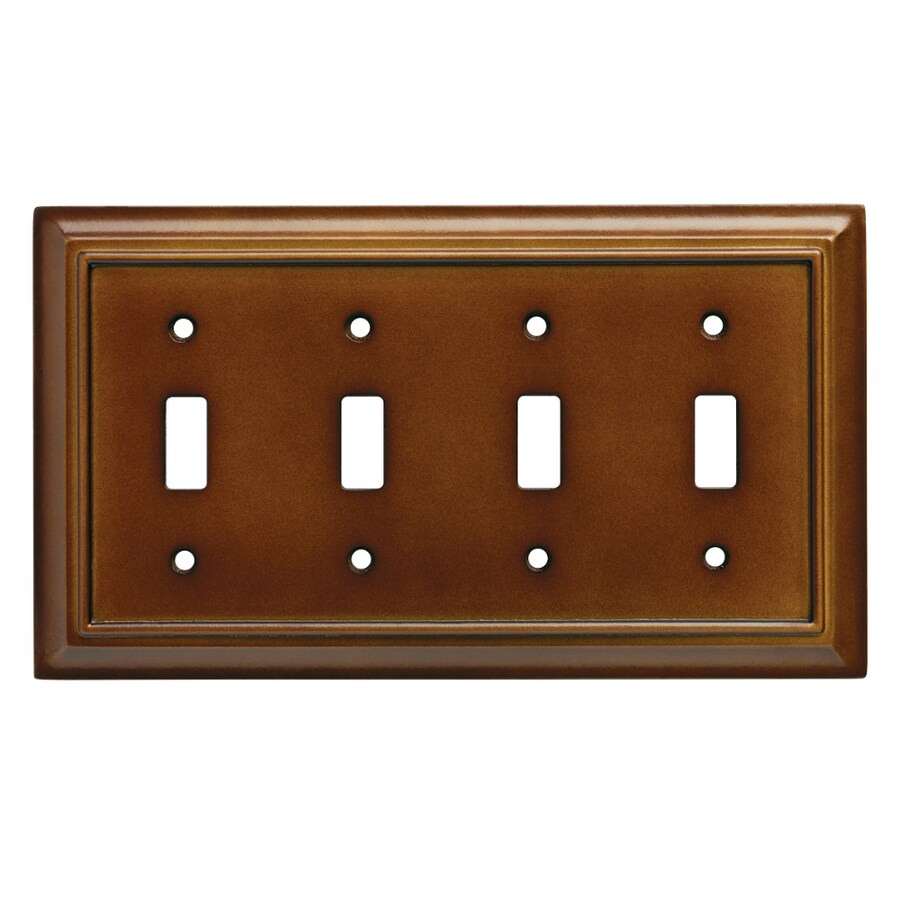 Brainerd Wood Architectural 4-Gang Saddle Quad Toggle Wall Plate