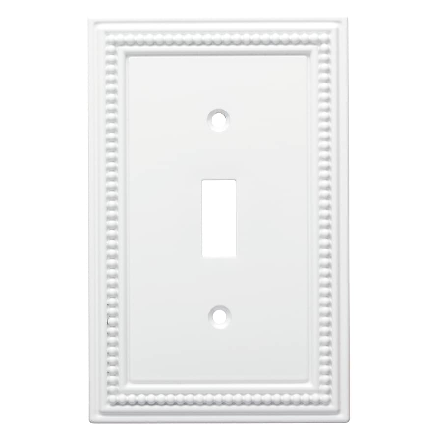 Brainerd Beaded 1-Gang Pure White Single Toggle Wall Plate