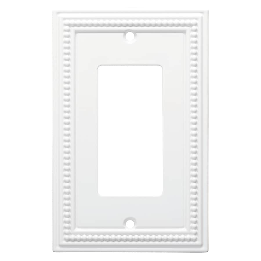Brainerd Beaded 1-Gang Pure White Single Decorator Wall Plate