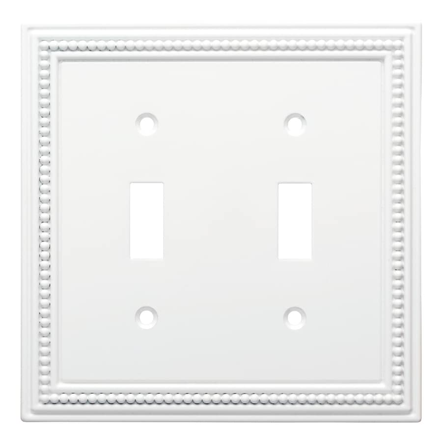 Brainerd Beaded 2-Gang Pure White Double Toggle Wall Plate