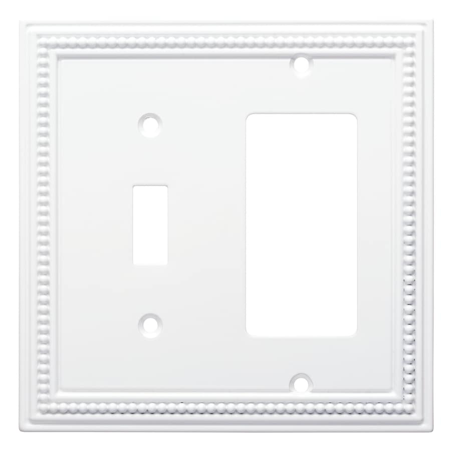 Brainerd Beaded 2-Gang Pure White Single Toggle/Decorator Wall Plate