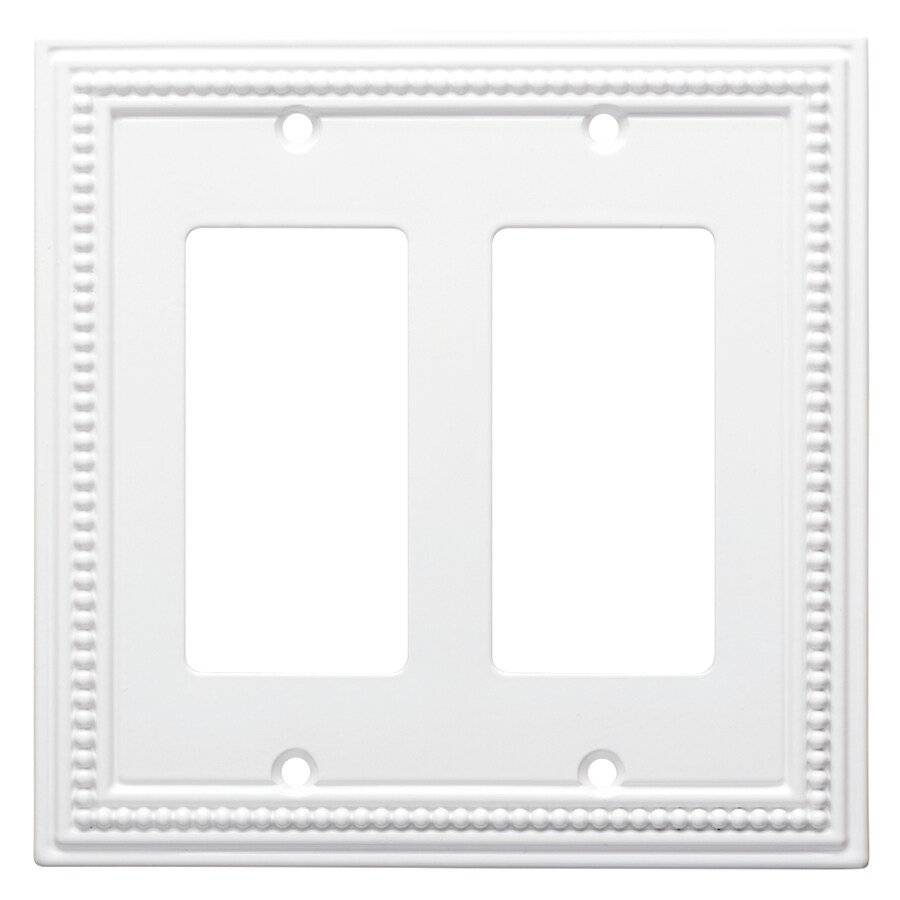Brainerd Beaded 2-Gang Pure White Double Decorator Wall Plate