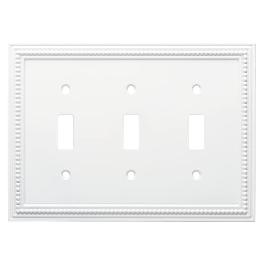 Brainerd Beaded 3-Gang Pure White Triple Toggle Wall Plate