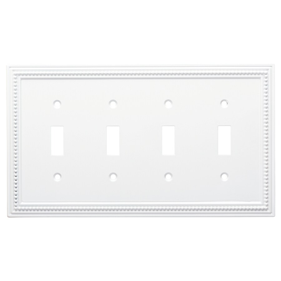 Brainerd Beaded 4-Gang Pure White Quad Toggle Wall Plate