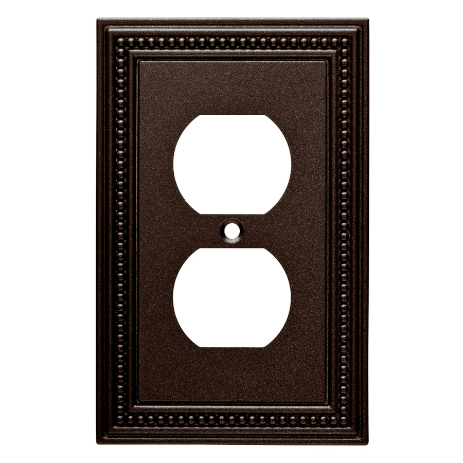 Brainerd Beaded 1-Gang Cocoa Bronze Single Duplex Wall Plate