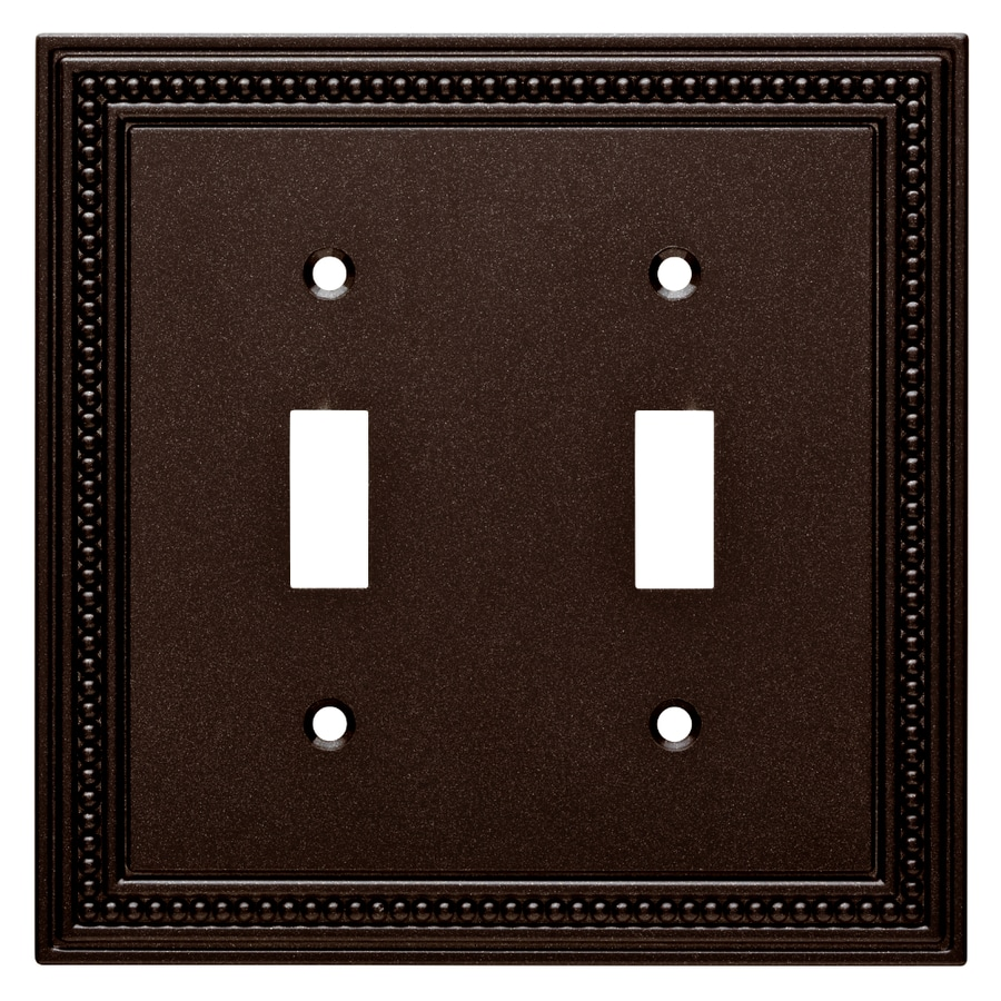 Brainerd Beaded 2-Gang Cocoa Bronze Double Toggle Wall Plate