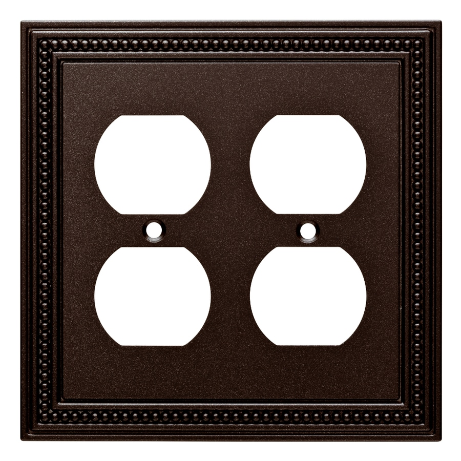 Brainerd Beaded 2-Gang Cocoa Bronze Double Duplex Wall Plate