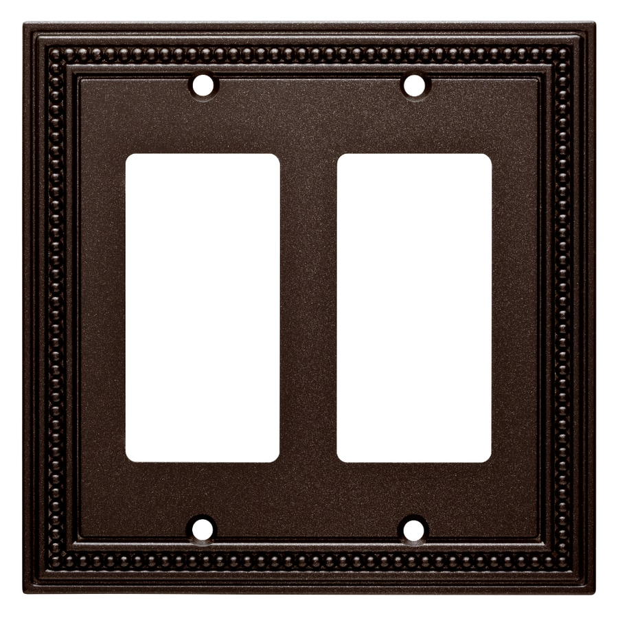Brainerd Beaded 2-Gang Cocoa Bronze Double Decorator Wall Plate