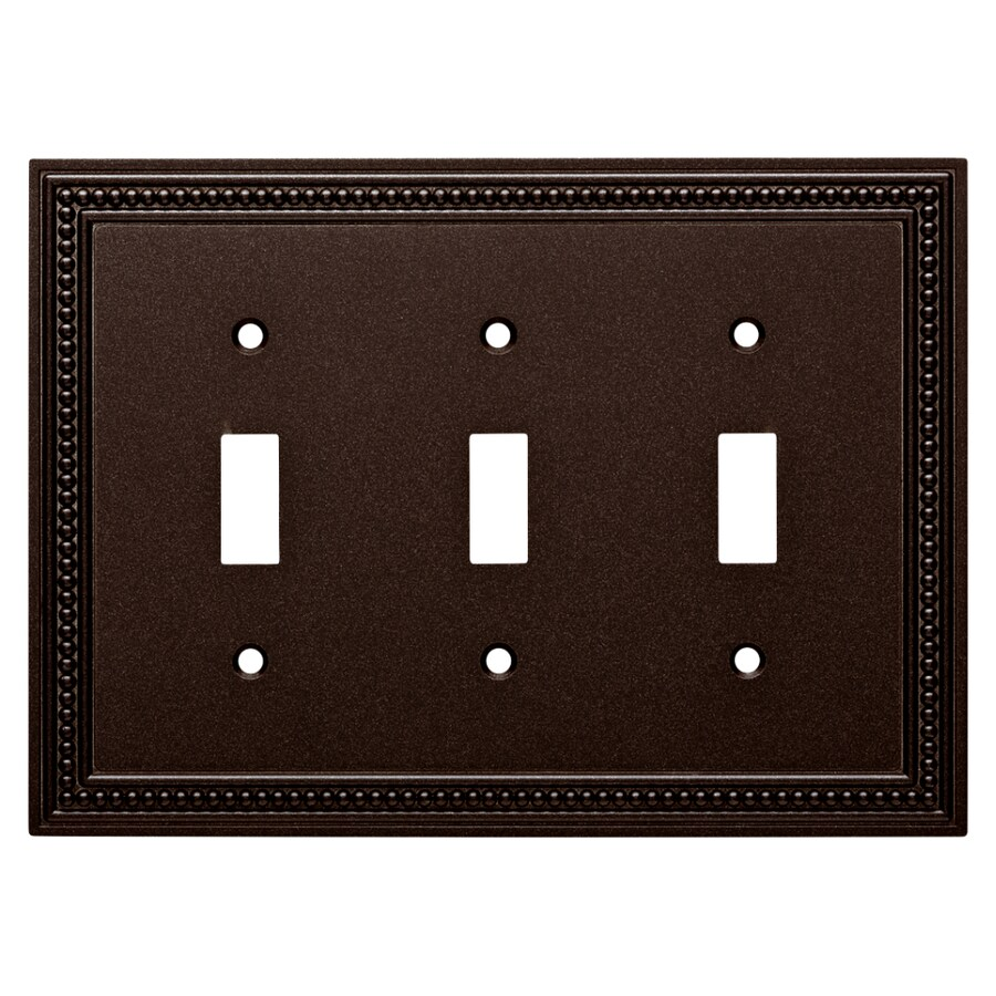 Brainerd Beaded 3-Gang Cocoa Bronze Triple Toggle Wall Plate