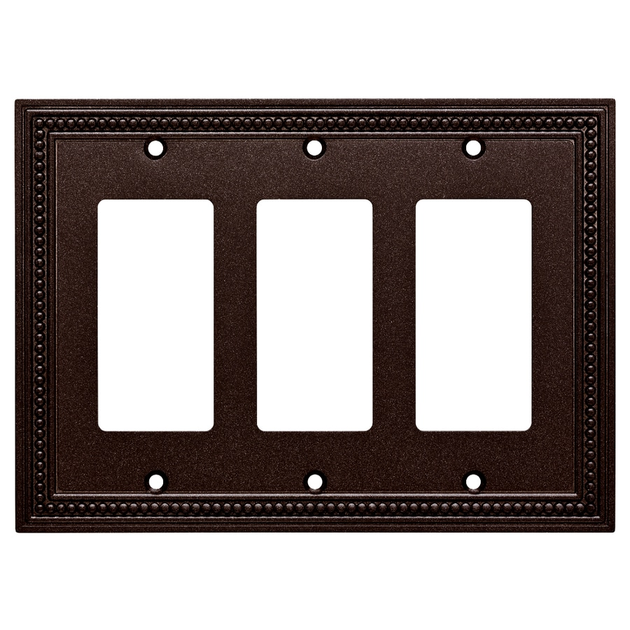 Brainerd Beaded 3-Gang Cocoa Bronze Triple Decorator Wall Plate