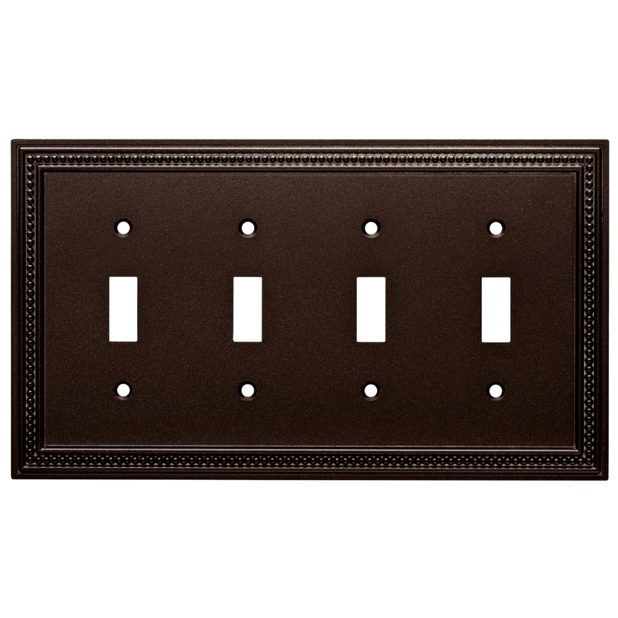 Brainerd Beaded 4-Gang Cocoa Bronze Quad Toggle Wall Plate