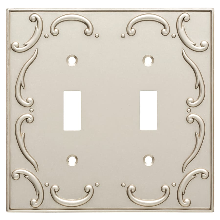 Brainerd French Lace 2-Gang Vintage Nickel Double Toggle Wall Plate