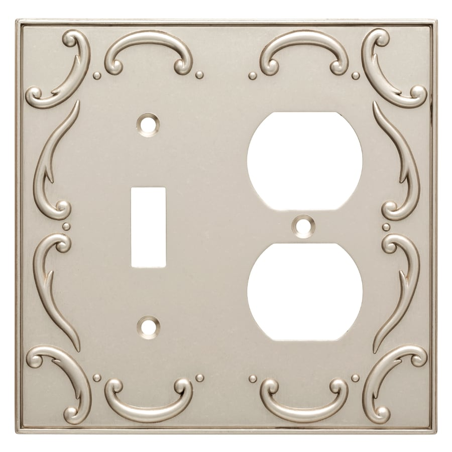 Brainerd French Lace 2-Gang Vintage Nickel Single Toggle/Duplex Wall Plate