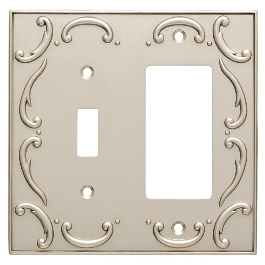 Brainerd French Lace 2-Gang Vintage Nickel Single Toggle/Decorator Wall Plate