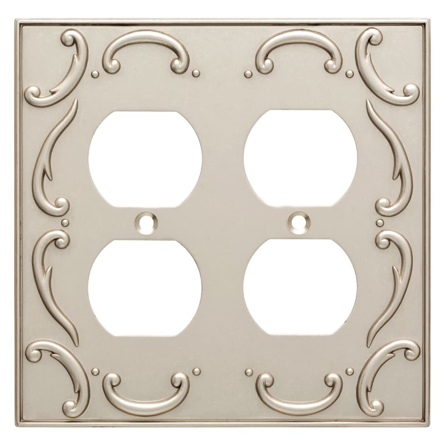 Brainerd French Lace 2-Gang Vintage Nickel Double Duplex Wall Plate