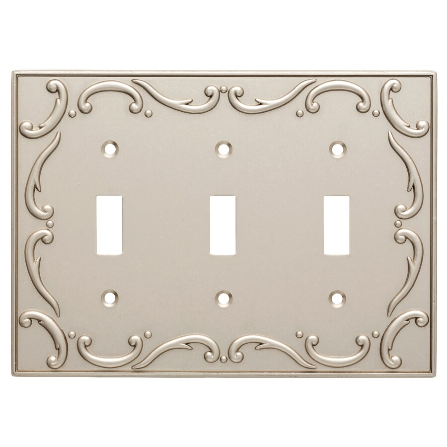Brainerd French Lace 3-Gang Vintage Nickel Triple Toggle Wall Plate