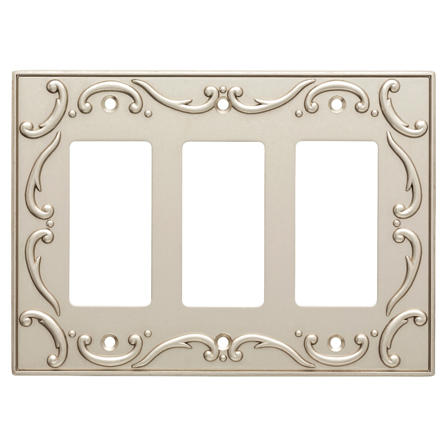 Brainerd French Lace 3-Gang Vintage Nickel Triple Decorator Wall Plate