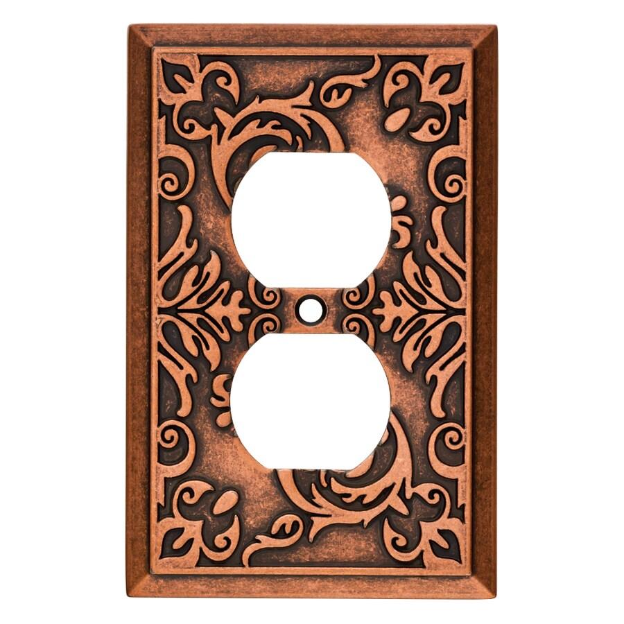 Brainerd Fairhope 1-Gang Sponged Copper Single Duplex Wall Plate