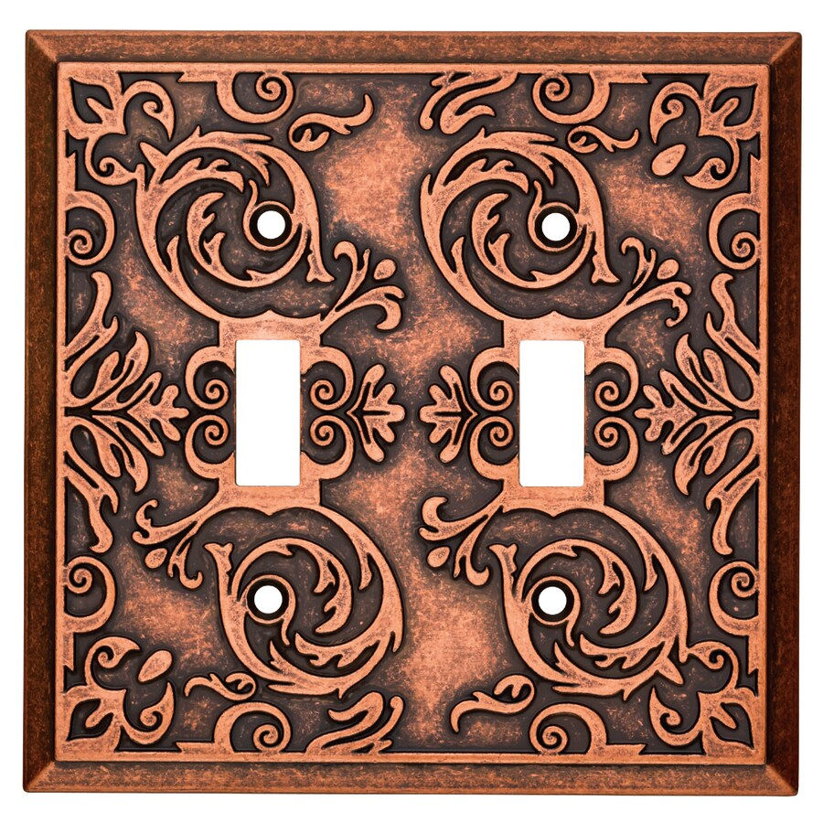 Brainerd Fairhope 2-Gang Sponged Copper Double Toggle Wall Plate