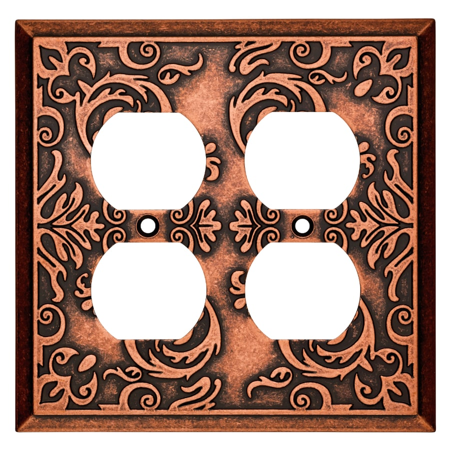 Brainerd Fairhope 2-Gang Sponged Copper Double Duplex Wall Plate