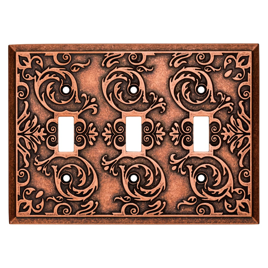 Brainerd Fairhope 3-Gang Sponged Copper Triple Toggle Wall Plate