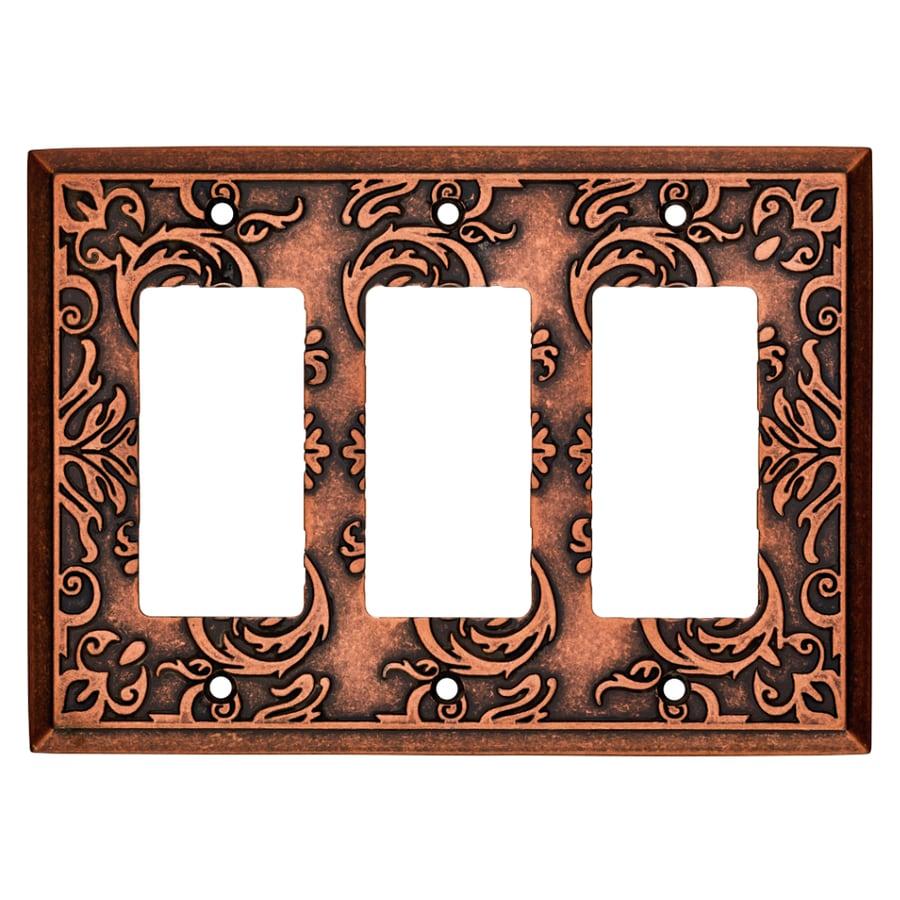 Brainerd Fairhope 3-Gang Sponged Copper Triple Decorator Wall Plate